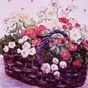 Basket Of Baby Roses Art Print
