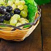 Basket Of Grapes On Rustic Wooden Table Art Print