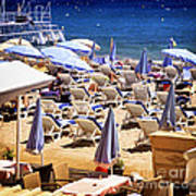 Beach In Cannes Art Print