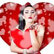 Beautiful Girl In A Bright Love Romance Art Print