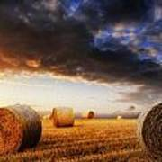 Beautiful Hay Bales Sunset Landscape Digital Painting Art Print by Matthew Gibson