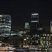 Beautiful Night City Skyline Landscape Image Of City Of London Art Print