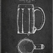 Beer Mug Patent From 1876 - Dark Art Print