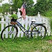 Bicycle And White Fence Art Print
