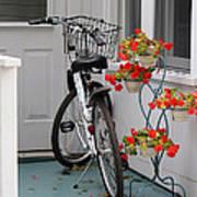 Bicycles And Geraniums Art Print