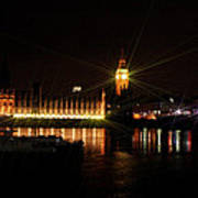 Big Ben And The House Of Parliment On The Thames Art Print