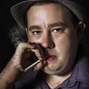 Big Mob Boss Smoking Cigarette Dark Background Art Print