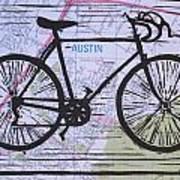 Bike 8 On Map Art Print