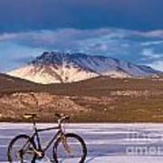 Bike On Frozen Lake Laberge Yukon Canada Art Print