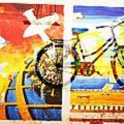 Biking In Bejing Art Print