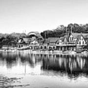Black And White Boathouse Row Art Print