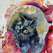 Black Cat In Gold Art Print