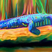Blue Alligator Art Print