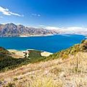 Blue Surface Of Lake Hawea In Central Otago In New Zealand Art Print