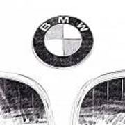 Bmw Z3 Emblem In Black Art Print