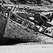 boat wreck on bunbeg beach in gweedore gaeltacht county Donegal Republic of Ireland Art Print