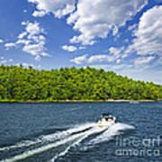 Boating On Lake Art Print by Elena Elisseeva