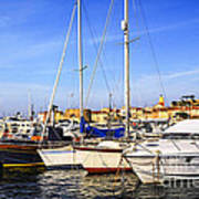 Boats At St.tropez Art Print by Elena Elisseeva
