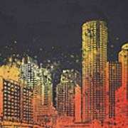 Boston City Skyline Art Print by Aged Pixel