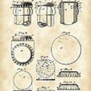 Bottle Cap Patent 1892 - Vintage Art Print