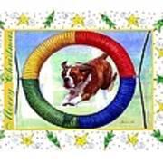 Boxer Dog Christmas Art Print by Olde Time  Mercantile