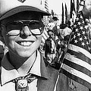 Boy Scout Veteran's Day Parade Tucson Arizona 1990 Black And White Art Print