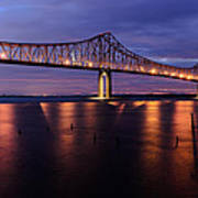 Commmodore Barry Bridge In The Blue Hour Art Print