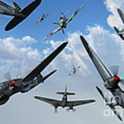 British Supermarine Spitfires Attacking Art Print