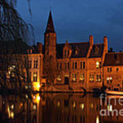 Bruges Rozenhoedkaai Night Scene Art Print by Kiril Stanchev