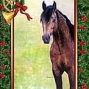 Buckskin Quarter Horse Christmas Card Art Print