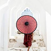 Buddhist Monk Walking Along Temple Art Print
