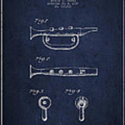 Bugle Call Instrument Patent Drawing From 1939 - Navy Blue Art Print