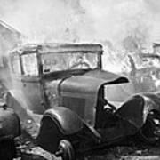 Burning Car Circa 1942  Art Print