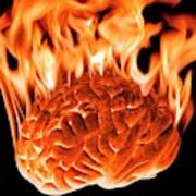 Burning Human Brain Art Print