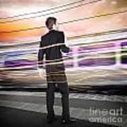Business Man At Train Station Railway Platform Art Print