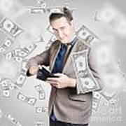 Businessman Under Falling Money. Financial Success Art Print