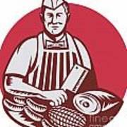 Butcher Cutter Worker Meat Cleaver Knife Retro Art Print