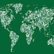 Butterflies Map Of The World Map Art Print by Michael Tompsett
