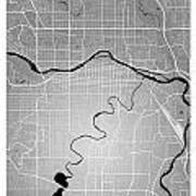 Calgary Street Map - Calgary Canada Road Map Art On Colored Back Art Print