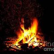 Campfire As A Symbol Of Warmth And Life On Black Art Print