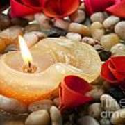 Candle And Petals Art Print