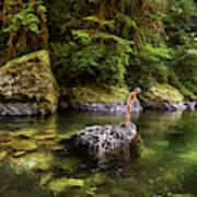 Cascade Locks, Oregon, Usa. A Woman Art Print