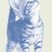 Cat With Love Hart Pop Modern Art Etching Poster Art Print