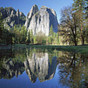 Cathedral Rock And The Merced River Art Print