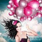 Celebration. Happy Fashion Woman Holding Balloons Art Print