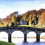 Cezanne Style Digital Painting Bridge Over Main Lake In Stourhead Gardens During Autumn. Art Print