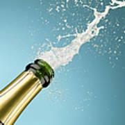 Champagne Exploding From Bottle Art Print