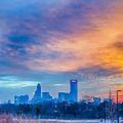Charlotte The Queen City Skyline At Sunrise Art Print
