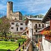 Chatelard Village With Castle Art Print