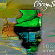 Chicago Illinois Map Watercolor Art Print